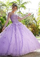 Sparkly Lilac Quinceanera Dresses 2021 Long Sleeve Lace 3D Flowers Sequins Beads Rhinestone Princess Party Sweet 15 Ball Gown Masquerade Gowns
