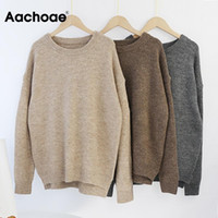 AACHOAE O COU COUCH PUBLERE Pull Sweater Femmes Batwing à manches longues Pulls en laine douce en vrac Sauniers tricotés Tops Casual Tops Pullover1