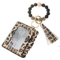 패션 PU 가죽 팔찌 지갑 키 체인 파티 호의 Tassels Bangle 키 링 홀더 카드 가방 실리콘 페르시 손목 키 체인 FWF7220