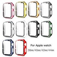 Diamant cristal avec étui à protecteur d'écran pour une montre Apple 40mm 44mm série 6 / SE / 5/3 / 4