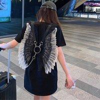 Camiseta para mujer Nicemix Gothic Women Verano 2021 Dark Design Sensitching Sobres Sleed Mid-Long Black Mangas cortas Camiseta de manga corta