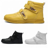 Fashion Buckle Men's Ankle Boots Yellow PU Comfortable Casual shoes for Male Men botas hombre size 39-44 F2gS#
