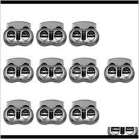 개념 도구 의류 드롭 배달 2021 10 금속 콩 코드 잠금 장치의 팩 스토퍼 토글 로프 클램프 2Hodles Cordlocks 걸쇠 버클 Dstring Sews