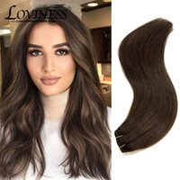 Human Hair Bulks Dark Brown Extensions Sew In Weft Extension Straight Remy Hand Tied Double Real Bundle Weave