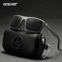 Kdeam rechteckig ultra light tr90 sonnenbrille männer polarisiert tac 1,1mm dicken objektiv fahren sonne brille frauen sport cat.3