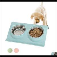 Besleyiciler Paslanmaz Çelik Çift Pet Kaseler Gıda Su Besleyici Küçük Köpek Yavru Kediler için Evcil Malzemeleri Besleme Bulaşıkları Q6Wix HSZ7X