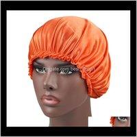 Shower Caps Bathroom Aessories Bath Home & Gardenwomen Sleep Satin Night Artifical Silk Hat Double Side Wear Women Head Er Cap Bonnet For Be
