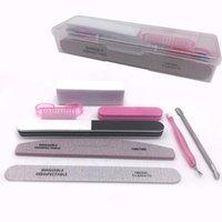 Nail Art Kits 8pcs  File Buffer Uv Gel Polish Block Cleaning Brush Cuticle Pusher Set Acrylic Manicure Tools With Box