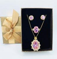 Jantar de festa de mulher vestido de jóias de jóias noiva acessórios de alta qualidade colar brincos anel conjunto rosa cristal incrustado strass aniversário caixa de presente embalagem