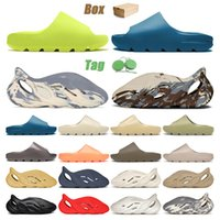 slide slipper foam runner Kutulu 2021 Plaj Ayakkabısı Terlik Glow Green Enflame Mavi Platform Sandalet Spor Ayakkabı Erkek Bayan Çocuk Krem Kil Kauçuk Eğitmen Eur 32-47