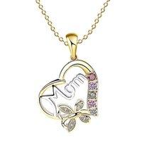 الحب القلب أمي رسائل معلقة القلائد الكريستال أزياء المرأة اقتراح مجوهرات اليوم عيد هدية قلادة أنيقة قلادة