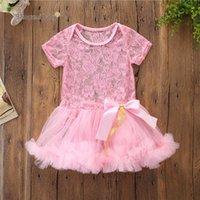 Infant Newborn Baby Girl Pink Flower Lace Dress Summer Bowknot Princess Dresses Vestidos Bebe Girl Gown Ruffle Tutu Party Dress