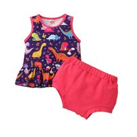 Clothing Sets 0-18m Baby Girls Casual Two-piece Clothes Set Born Infant Round Collar Sleeveless Cartoon Pattern Tops And Shorts Outfits