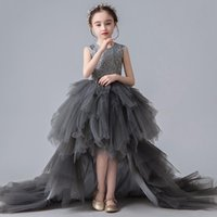 Girl's Dresses Beautiful Girls Tiered Tulle Beads Lace Little Princess Birthday Dress Wedding Party Pageant Gowns