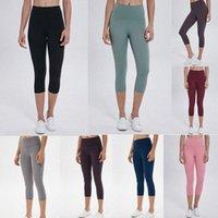 LU Senza cuciture Womens Lulu Yoga Leggings Vestito Pantaloni Potato Pantaloni Alti Allinea Sport filettati Sport Mid-Vifalful Raising Hips Gym Wear Elastic FitnessH4n #