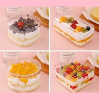 Disposable Cups & Straws 10pcs Creative Cake Box Transparent Plastic Pudding Tiramisu Fruit Packaging Boxes Handmade Dessert Cup With Lid