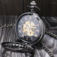 Lucury Steampunk Mechanical Pocket Watch Silver Black Hollow Flower Steel Hand Wind Men Women Pendant Fob Chain Birthday Gifts1
