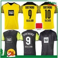 21 22 Dortmund Soccer Jerseys Haaland Reus Hazard Hummels Brandt 2021 2022 Camicie da calcio Sancho Uniformi di formazione Thailandia Men + Kids Kit