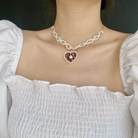 Handmade Wave Simulated Pearl Choker Necklace Collares Love Heart Pendant Necklace for Women Girls Jewelry