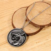 Wicher 3 Wizard Wild Hunt Wolf Medallion Necklace Men Pendant Metal Chian Boho Geralt Cosplay Jewelry Accessories Chains