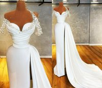 2022 Designer Pearls Evening Dresses Sexy High Split Off The Shoulder Sider Train Satin Long Prom Gowns Reception Party Dress