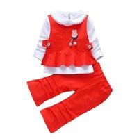 Clothing Sets Spring Autumn Children Casual Clothes Suit Baby Girls Fashion Cartoon Lapel Vest T Shirt Pants 3Pcs sets Kids Infant Sportswea