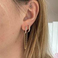 Nuovi Orecchini retrattili del braccialere del cerchio del cerchio di modo per le donne degli uomini degli uomini di Huggie Unisex Double Piercing Hoop orecchino femminile Brincos