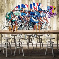 Wallpapers Custom Self-Adhesive Wallpaper 3D Bicycle Exercise Murals Modern Fashion Gym Restaurant Background Wall PVC Waterproof Stickers