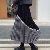 Bygouby noble jacquard jacquard femme jupe tricoté élastique taille haute maxi automne hiver épais fête chaude plissée jupes 210408