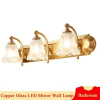 American LED Mirror Lamps For Washroom Makeup Vanity Cabinet Gold Copper Bathroom Decoration Indoor E27 Wall Light Fixture