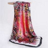 Schals Dame Seide Quadrat Schal Mode Haar Neck Tuch Und Wraps Große Hijab Print Designer Cover Headkerchief Sommer
