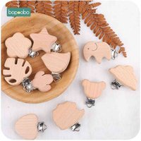 Bopoobo 10pcs Pacifier Clip Making Wooden Soother Clip Nursing Accessories Silicone Diy Dummy Clip Chains Wooden Baby Teether 210407