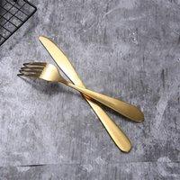 4 adet / takım Altın Çatal Kaşık Çatal Bıçak Çay Kaşık Mat Altın Paslanmaz Çelik Gıda Silverware Yemek Seti Seti HWE5819