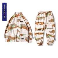 Uncledonjm 2 штуки наборы рубашки наборы трексуита набор камуфляж уличная одежда брюки брюки мужская одежда хип-хоп DV26-220