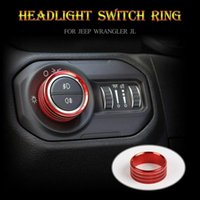 Car Headlight Switch Knob Frame Ring Cover Trim For Wrangler JL 18+ Red