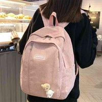 Çizgili Sevimli Kadife Kadın Sırt Çantası Schoolbag Genç Kız Erkek Lüks Harajuku Kadın Moda Çantası Öğrenci Lady Kitap Paketi 210401