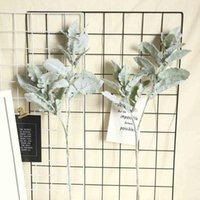 Artificial Flowers High Quality Flocked Silver Leaf Chrysanthemum Silk Lambs Ear Spray Greenery For Home Décor Wedding Decorative & Wreaths