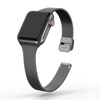 Миланский ремешок для Apple Watch 5 4 44 мм 40 мм Iwatch 3 2 1 42 мм 38 мм тонкий металлический браслет из нержавеющей стали