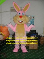 Smart Pink Easter Bunny Rabbit Mascot Costume Mascotte Lepus Jackrabbit Hare With Long Yellow Ears Red Nose No.966 Free Ship