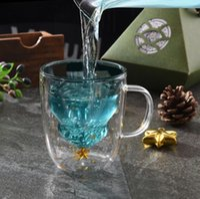 Cute Christmas Tree Mug Double Wall Glass Coffee Cups with Silocone Lid Snowflake Star Xmas Gift Wine Tea Milk Water Tumbler OOD6001