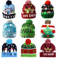 LED Chapéu de Natal Sweater Beanie Santa Elk Light Up Cap Cap Festa Favor Para Crianças Xmas 2021 Decorações de Ano Novo