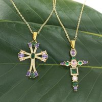 Pendant Necklaces Gold Filled Cross Necklace Women Collier Femme 2021 Christian Jewelry Collar Arcoiris CZ Stone Large Pendants For