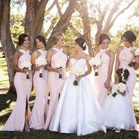 2021 Country Bridesmaid Dresses Halter Keyhole Neck Wedding Party Dress Front Split Long Prom Vestidos De Marrige