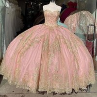 Blush Gold Applique Princess Ball Gown Quinceanera Dresses Sweetheart Lace-up Back Sweep Train Puffy Ruffles Formal Pageant Dress Vestidos de Quinceañera