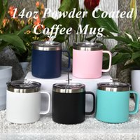 14oz Coffee mug with handle Stainless Steel Powder Coated Tr...
