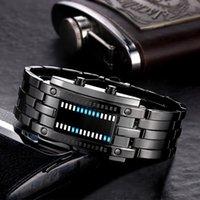 Wristwatches Luxury Men's Watch Lovers Men Women Stainless Steel Blue Binary Digital LED Bracelet Sport Watches Casual #8