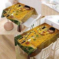 Shunqian Custom Gustav Klimt скатерть квадрат / прямоугольный для свадебного стола Ткань Крышка ТВ охватывает чай 210724