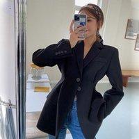 Coréen cordon de cordon costume costume veste femmes automne couleur solide blazer femme blâme lâche bouton couteaux féminin mode femme costumes blazers