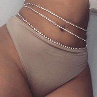 Sexy Shiny Letters Pendants Waist Chain For Women Gold Silver Color Rhinestone Tennis Waist Belt Belly Bikini Beach Body Jewelry