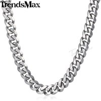 Trendsmax Matte Brushed Polished Necklace Mens Chain 316L Stainless Steel Cut Curb Cuban Link Silver Color Tone 15 Mm KHNM18 Chains